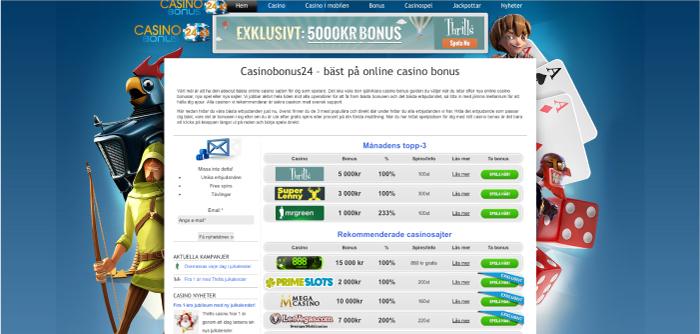 Casinobonus24.se hemsida 2014