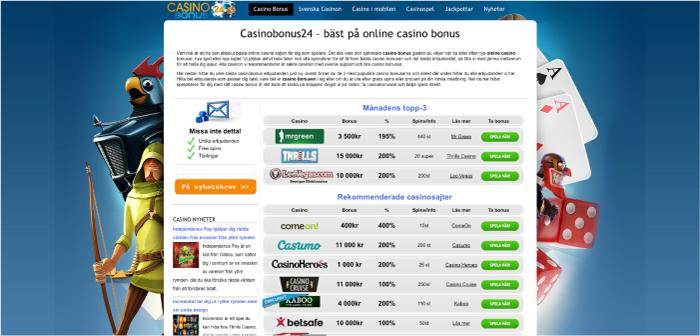Casinobonus24.se hemsida 2017