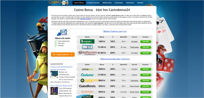 Casinobonus24.se hemsida 2018